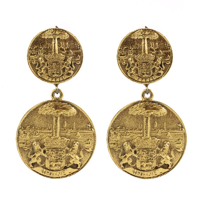 Chanel Vintage Gold Medallion Coat of Arms Crest Lion Earrings c. 1970 (Clip-On)