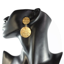 Load image into Gallery viewer, Chanel Vintage Gold Medallion Coat of Arms Crest Lion Earrings c. 1970 (Clip-On)