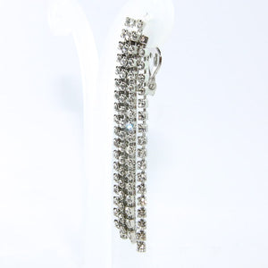Vintage Clear Crystal Rhinestone Long Tassel Earrings c. 1970 (Clip-on)