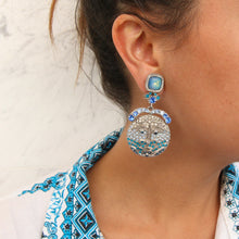 Load image into Gallery viewer, Christian Lacroix Vintage Signed 1990s Silver & Blue Crystal Earrings (Clip-on)