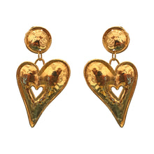 Load image into Gallery viewer, Edouard Rambaud Vintage Large Beaten Gold Heart Earrings (Clip-On) c.1980s