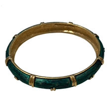 Load image into Gallery viewer, Emerald Green & Gold Tone Vintage Bangle
