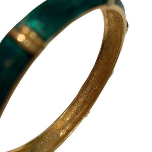 Emerald Green & Gold Tone Vintage Bangle