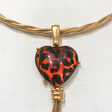 "Load image into Gallery viewer, Elegant Vintage Signed ""YSL"" Torque Heart Pendant Choker Drop Necklace c.1970s"