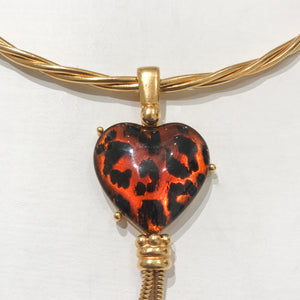 "Elegant Vintage Signed ""YSL"" Torque Heart Pendant Choker Drop Necklace c.1970s"