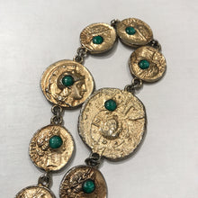 "Load image into Gallery viewer, Unique Varying Gold Tone Coin & Bead Vintage Signed ""Pauline Rader"" Necklace c.1960s"