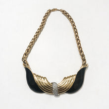 "Load image into Gallery viewer, Signed ""BG"" Vintage Gold Tone Chain Necklace With Large Black Enamel Pendant c.1970s"