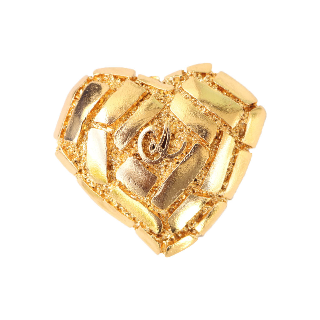 Christian Lacroix Signed Vintage Gold Tone Large Heart Brooch
