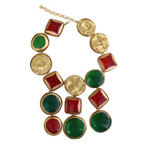 Load image into Gallery viewer, Kenneth Jay Lane Candy Treats Red, Green & Gold Vintage Drop Statement Necklace c.1980s