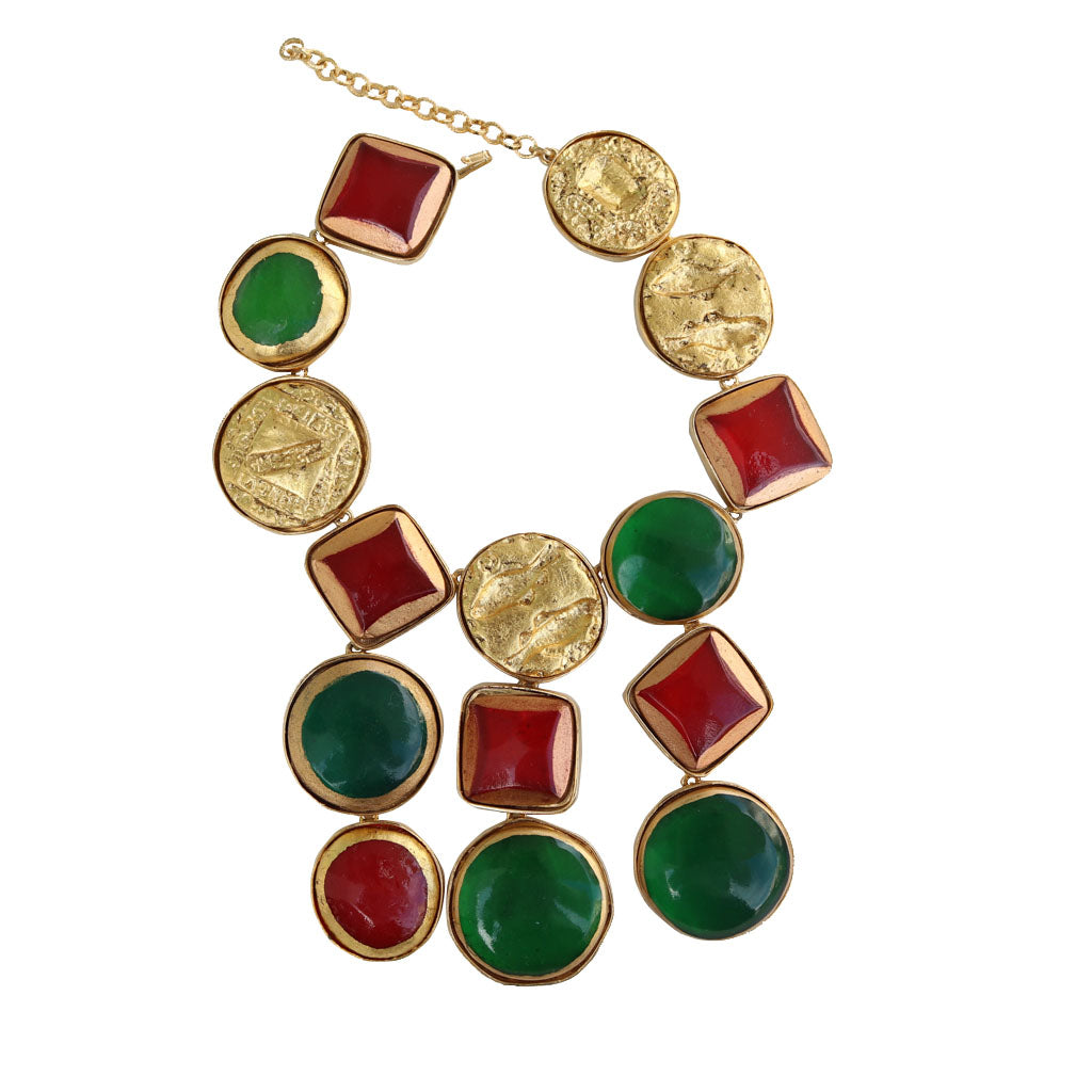 Kenneth Jay Lane Candy Treats Red, Green & Gold Vintage Drop Statement Necklace c.1980s