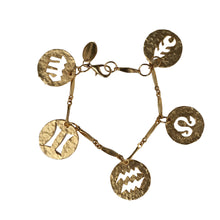 Load image into Gallery viewer, Paco Rabanne Vintage Astrology Beaten Gold Tone Charm Bracelet c.1990s
