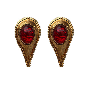 Dominque Aurientis Signed Red and Gold Upside Down Tear Drop Earrings (Clip-On)