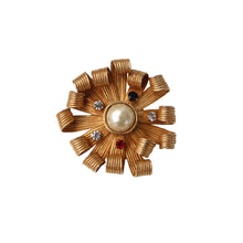 Load image into Gallery viewer, Dominque Aurientis Signed Vintage Curled Flower Petal Gold Tone Brooch