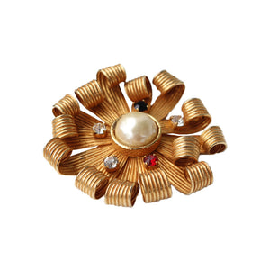 Dominque Aurientis Signed Vintage Curled Flower Petal Gold Tone Brooch