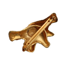 Load image into Gallery viewer, Dominque Aurientis Signed Vintage Double Dove Gold Tone Beaten Brooch