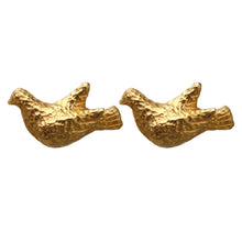 Load image into Gallery viewer, Dominque Aurientis Signed Vintage Dove Gold Tone Beaten Earrings