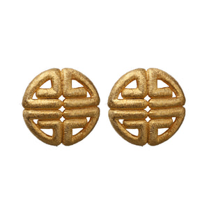 Givenchy Signed Vintage Matte Gold Tone Textured Earrings (Clip-On) c.1980s