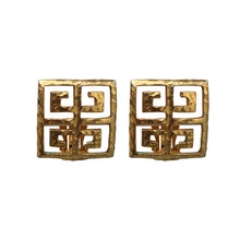 Load image into Gallery viewer, Vintage Givenchy Signed Beaten Gold Tone Square Oriental Earrings (Clip-On) c.1980s