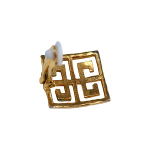 Vintage Givenchy Signed Beaten Gold Tone Square Oriental Earrings (Clip-On) c.1980s