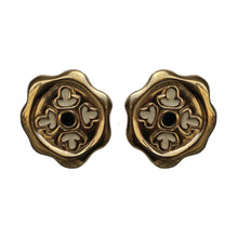 Load image into Gallery viewer, Givenchy Signed Vintage Gold Tone Hexagonal Earrings With Enamel Detail (Clip-on)