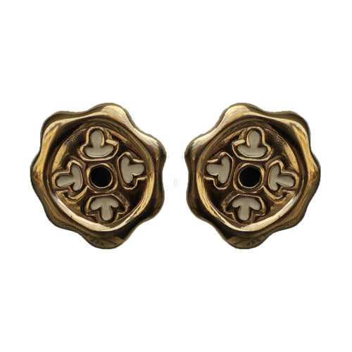 Givenchy Signed Vintage Gold Tone Hexagonal Earrings With Enamel Detail (Clip-on)