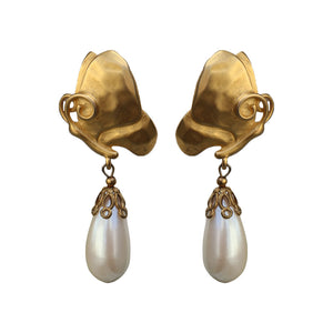 Givenchy Signed Vintage Gold Tone Pearl Drop Dangle Earrings (Clip-On) c.1980s