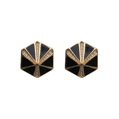 Vintage Signed 'Christian Dior' Gold Tone, Black Enamel & Clear Crystal Hexagonal Earrings (Clip-On) c.1970s