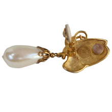 Load image into Gallery viewer, Givenchy Signed Vintage Gold Tone Pearl Drop Dangle Earrings (Clip-On) c.1980s
