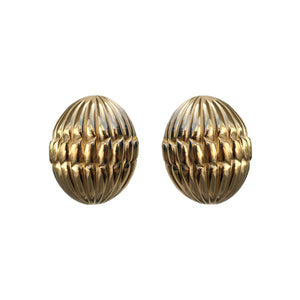 Givenchy Signed Vintage Ribbed Gold Tone Oval Earrings (Clip-on)