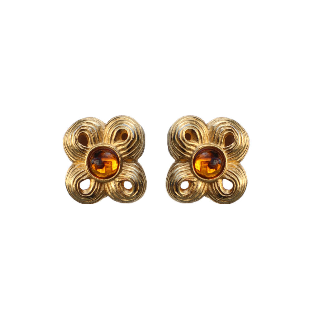 Givenchy Signed Vintage Gold & Amber Tone Four Leaf Clover Earrings (Clip-on)