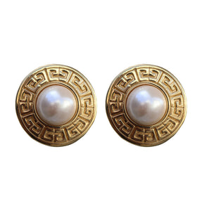 Vintage Signed 'Givenchy' Gold Tone Large Round Centre Pearl Earrings (Clip-On) c.1980s