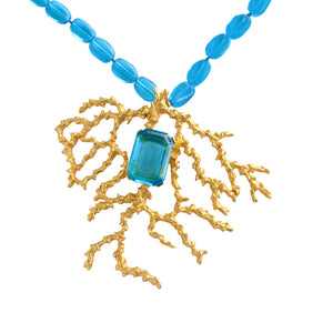 Signed Kenneth Jay Lane Vintage Gold Coral Branch & Turquoise Blue Glass Beaded Necklace c.1980s