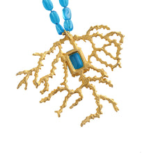 Load image into Gallery viewer, Signed Kenneth Jay Lane Vintage Gold Coral Branch & Turquoise Blue Glass Beaded Necklace c.1980s