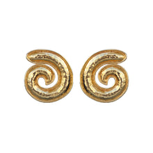 Load image into Gallery viewer, Vintage Beaten Gold Signed Eduoard Rambaud c.1980s Oversized Swirl Earrings (Clip-On)