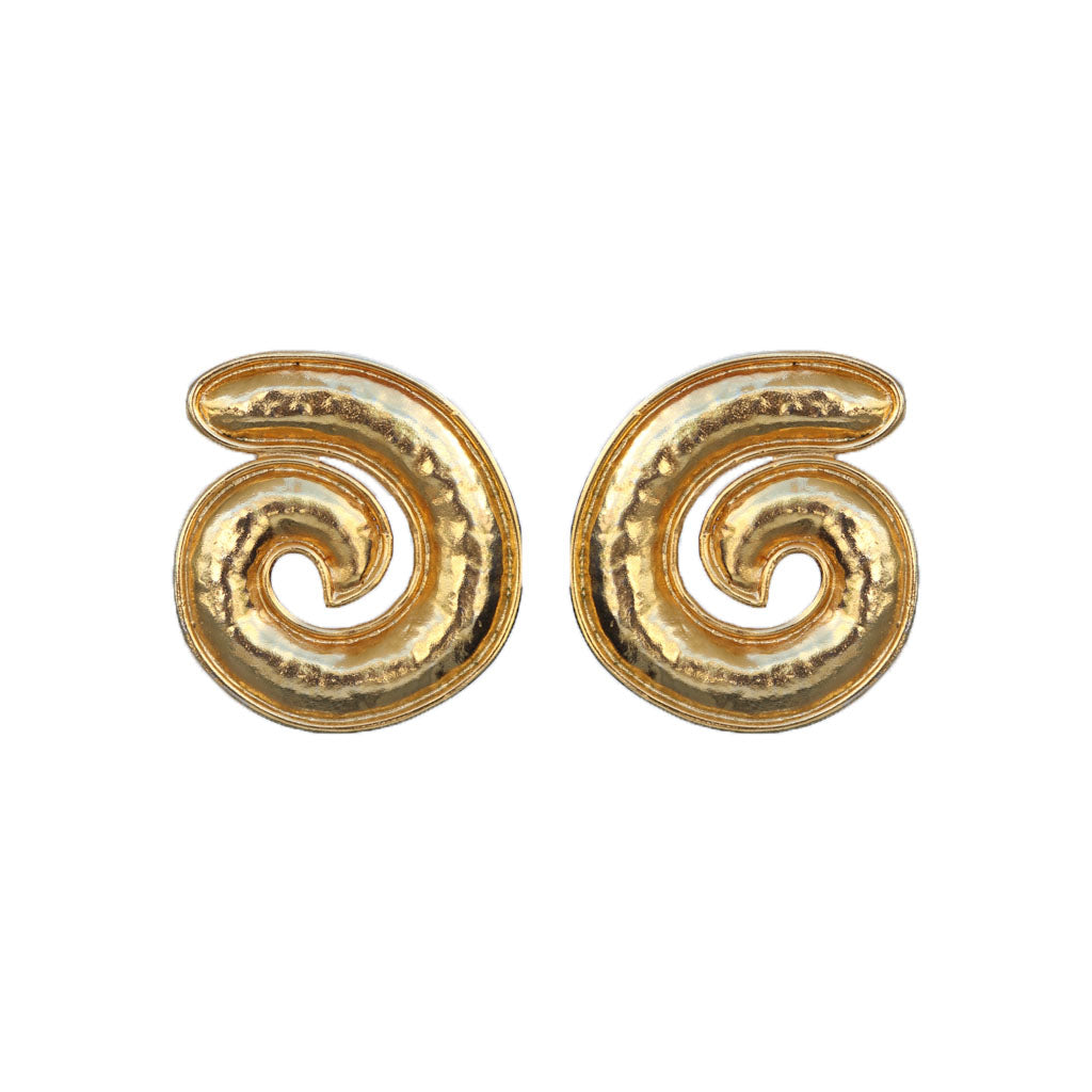 Vintage Beaten Gold Signed Eduoard Rambaud c.1980s Oversized Swirl Earrings (Clip-On)