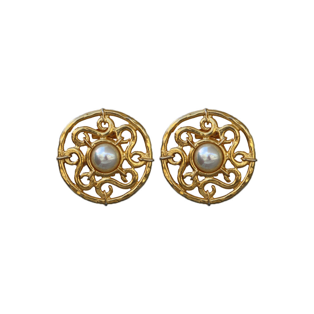 Signed 'Celine' Vintage Intricate Gold Detail & Centre Pearl Earrings (Clip-On) c.1990s