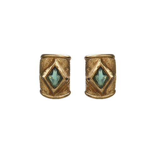 Large Rectangular Gold Tone Textured & Teal Crystal Vintage Scherrer Paris Earrings (Clip-On) c.1980s