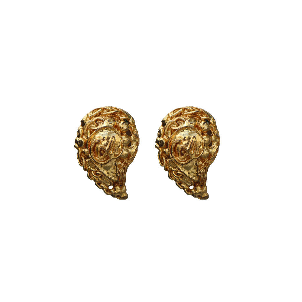 Signed Vintage Christian Lacroix Comma Gold Tone Earrings (Clip-On) c.1980s