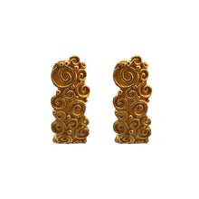 Load image into Gallery viewer, Karl Lagerfeld Half Moon Swirl Painterly Textured Yellow Gold Tone Earrings (Clip-on) c.1980s