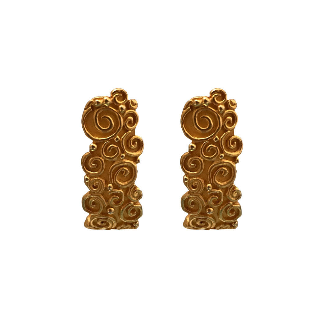 Karl Lagerfeld Half Moon Swirl Painterly Textured Yellow Gold Tone Earrings (Clip-on) c.1980s