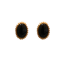 Load image into Gallery viewer, Karl Lagerfeld Black Enamel & Yellow Gold Tone Rippled Edge Earrings (Clip-On) c.1980s