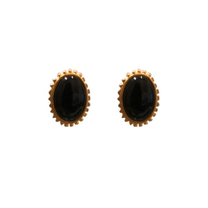 Karl Lagerfeld Black Enamel & Yellow Gold Tone Rippled Edge Earrings (Clip-On) c.1980s