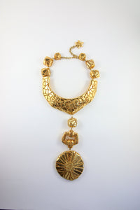 Unique Vintage Signed 'Christian Lacroix' Gold Plated Runway Piece with Carved Patterns
