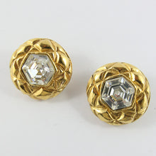 Load image into Gallery viewer, Signed Vintage Chanel Quilted Round Gold Earrings With Crystal c. 1990s (Clip-on)