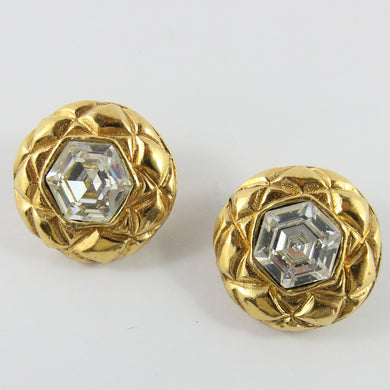 Signed Vintage Chanel Quilted Round Gold Earrings With Crystal c. 1990s (Clip-on)