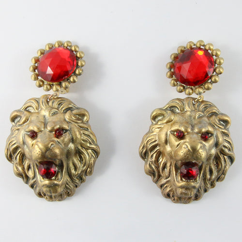 Vintage Gold-Tone Lion Earrings With Red Resin Crystals (New York)