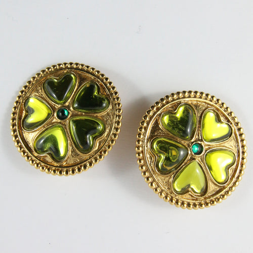 YSL Yves Saint Laurent Gold Plated Four Leaf Clover Earrings (Clip-On)