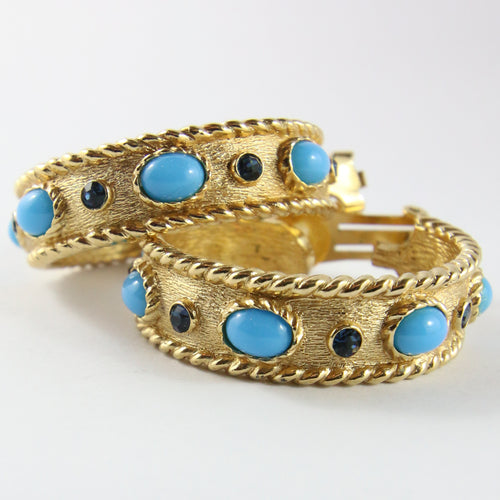 Christian Dior Signed Vintage Hoop Gold Tone Earrings With Turquoise Cabochon Stones (Clip-on)