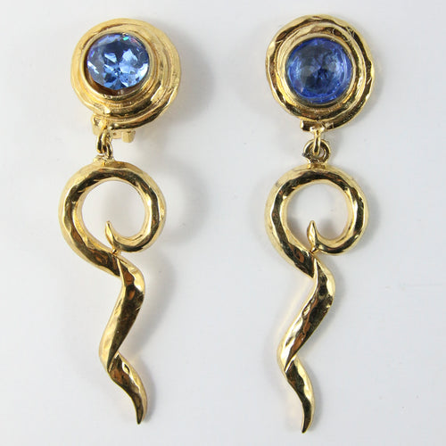 Bijoux Signed Earring Dangle Earrings With Blue Crystal (Clip-On)