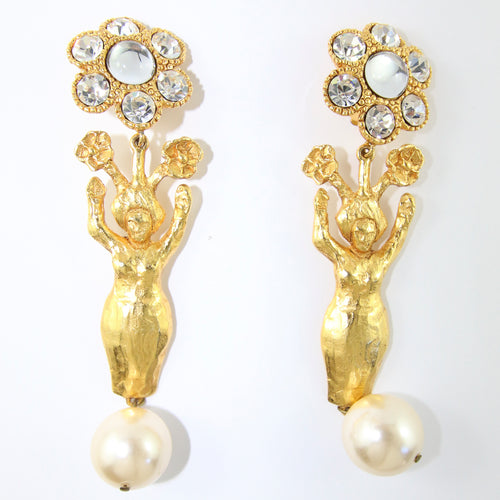 Signed Vintage Statement Christian Lacroix Earrings with Faux Pearl & Crystals